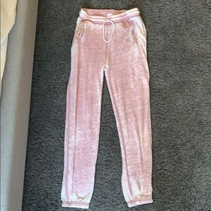 Distressed pink joggers